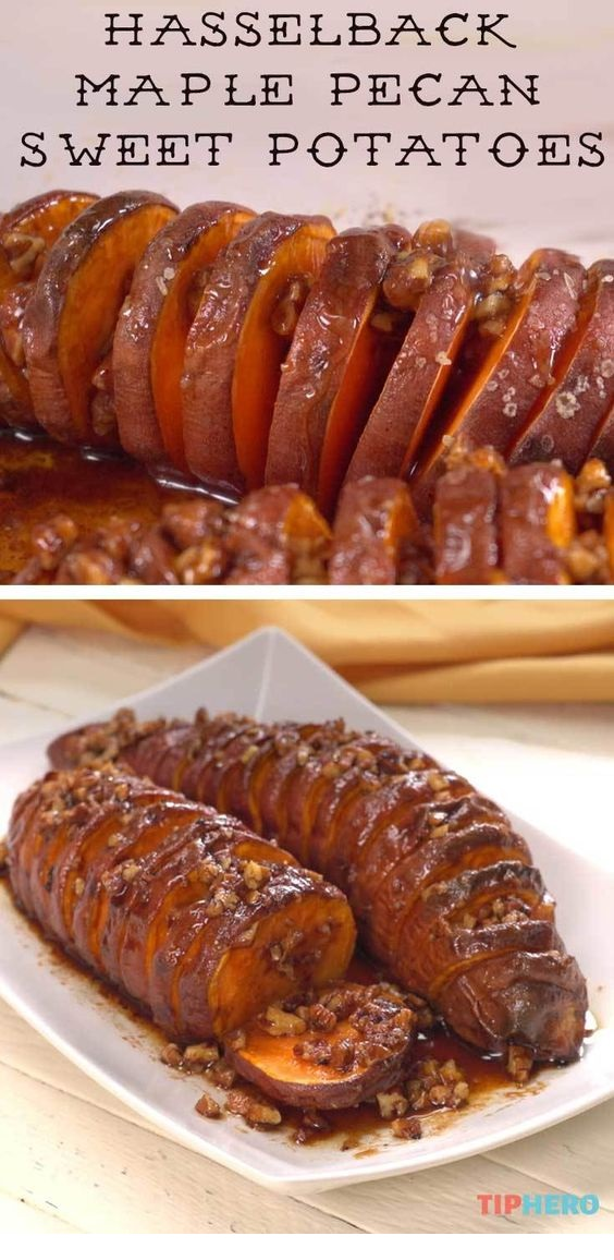 Hasselback Maple Pecan Sweet Potatoes
