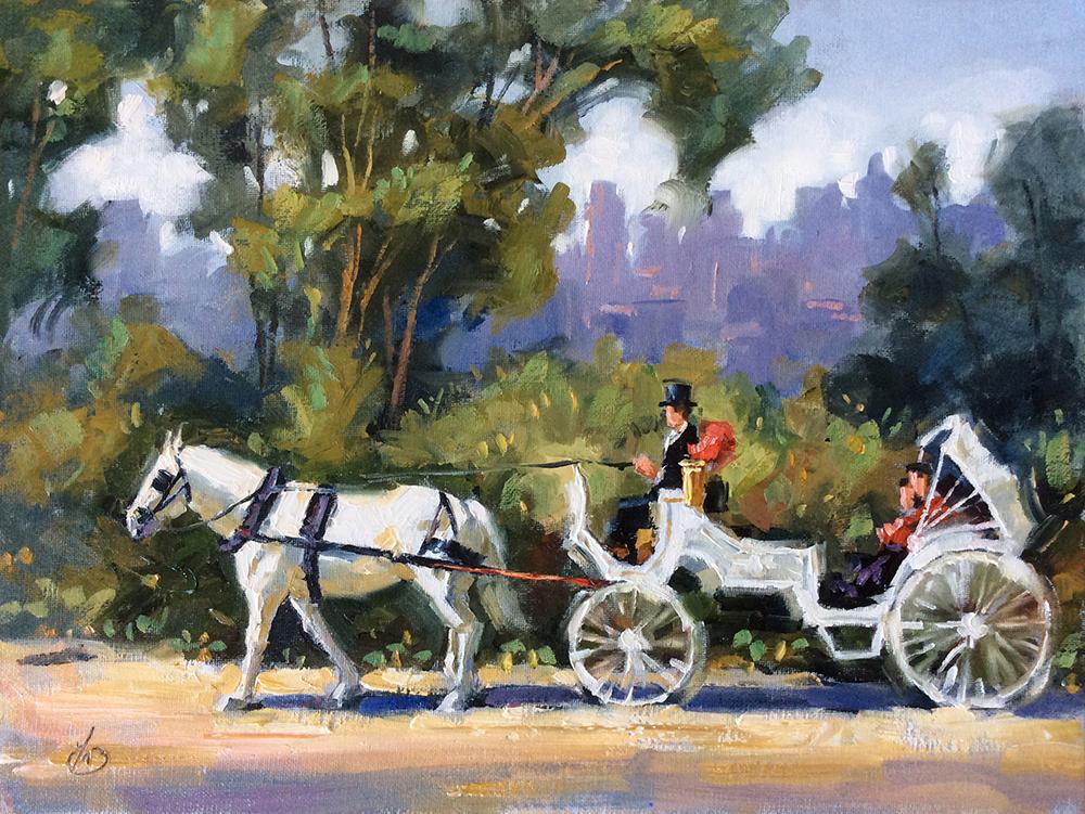 TOM BROWN FINE ART: N.Y. HORSE DRAWN CARRIAGE RIDE, 12x16 OIL PAINTING by TOM BROWN