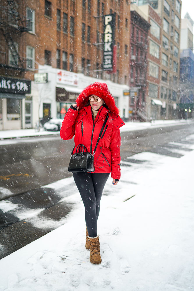 Red Puffer Coat in the Snow