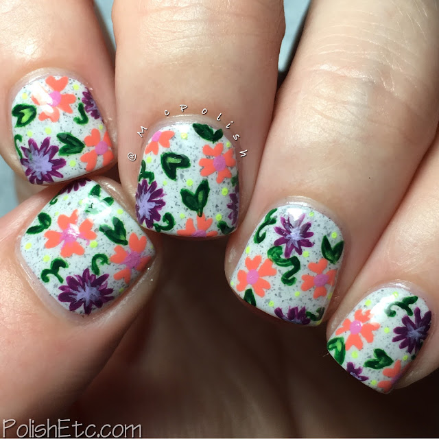Tiny floral print over Cirque Colors Hatch - #31DC2016Weekly - McPolish