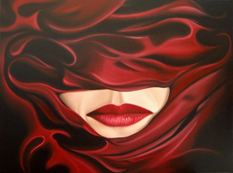 Drew Darcy 1976 | British Fashion Figurative painter | Lady in Red