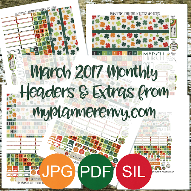 Free Printable March 2017 Monthly Headers & Extras from myplannerenvy.com