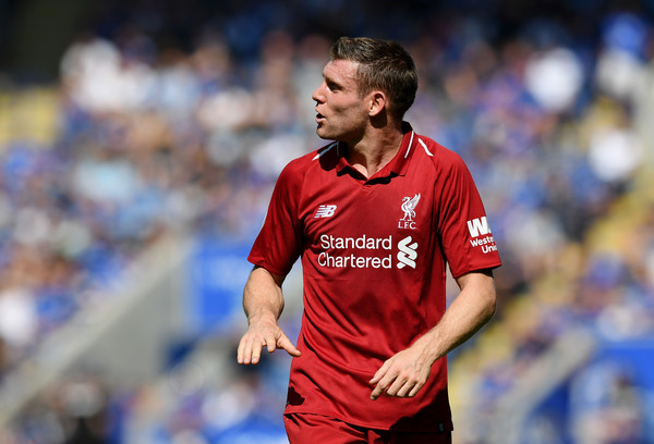 James Milner of Liverpool reacts during the Premier League match between Leicester City and Liverpool FC at The King Power Stadium on September 1, 2018 in Leicester, United Kingdom