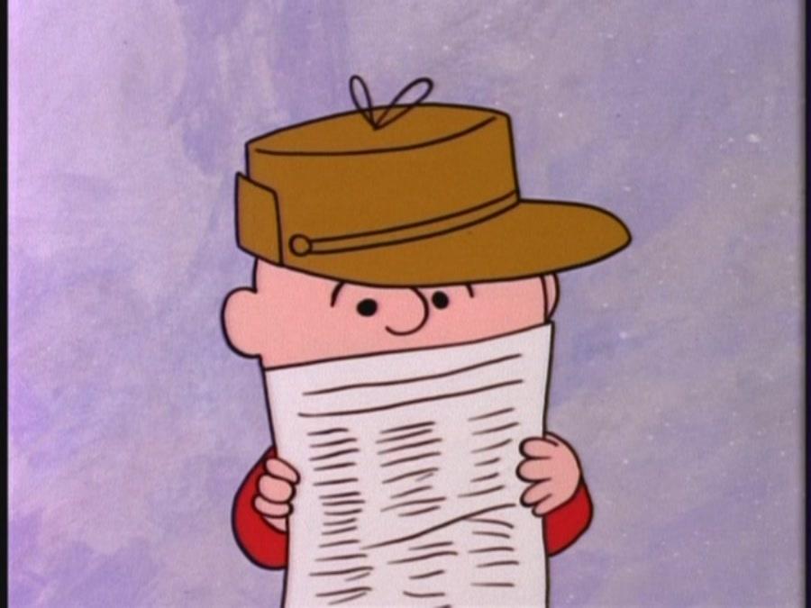 Charlie reading a list in A Charlie Brown Christmas 1965 animatedfilmreviews.blogspot.com