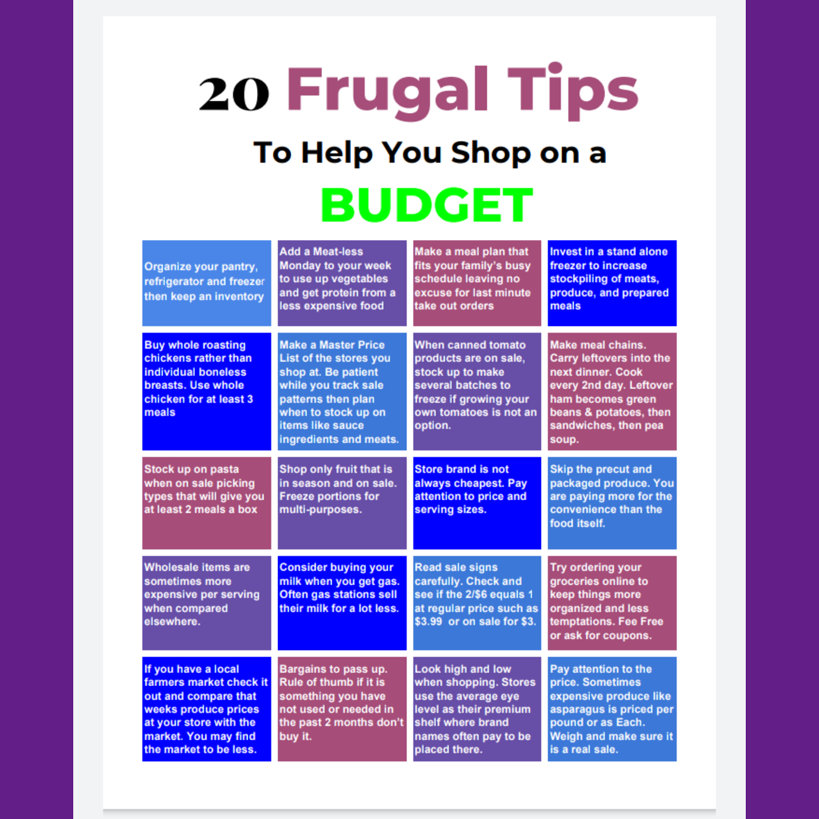 Download My Free 20 Frugal Grocery Shopping Tips!