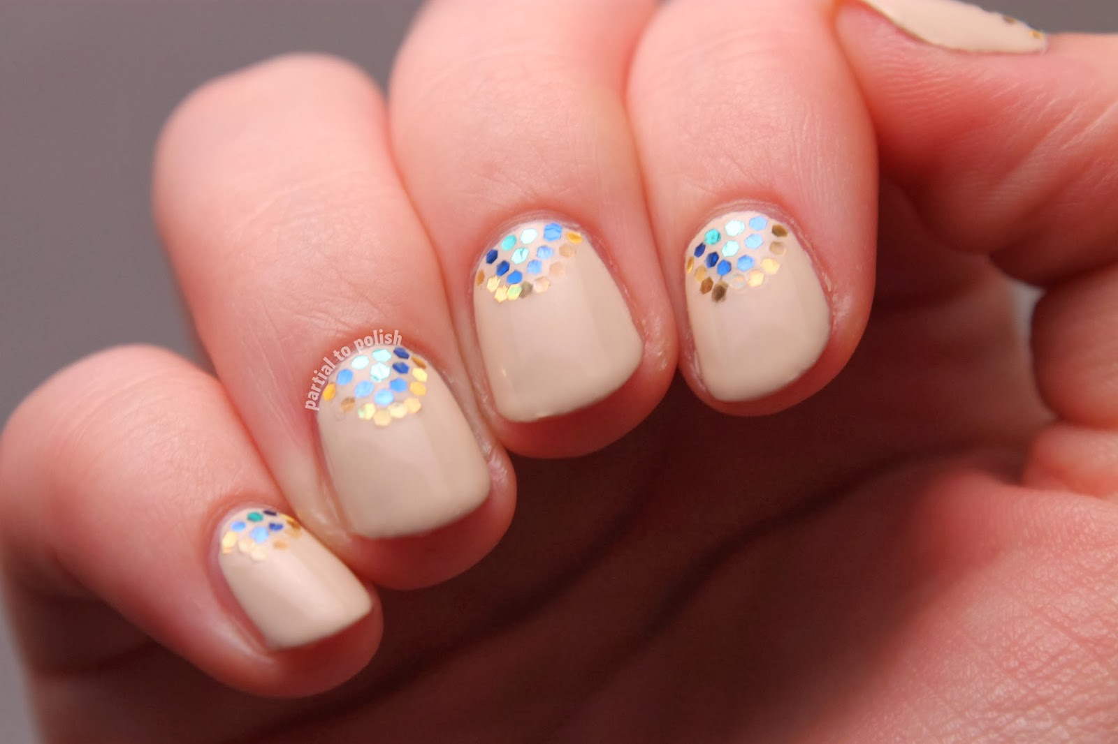 Partial To Polish Glitter Placement Nail Art Inspired By Polish All The Nails