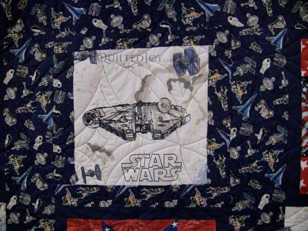 Jennifer 39 s star wars quilt for Space shuttle quilt