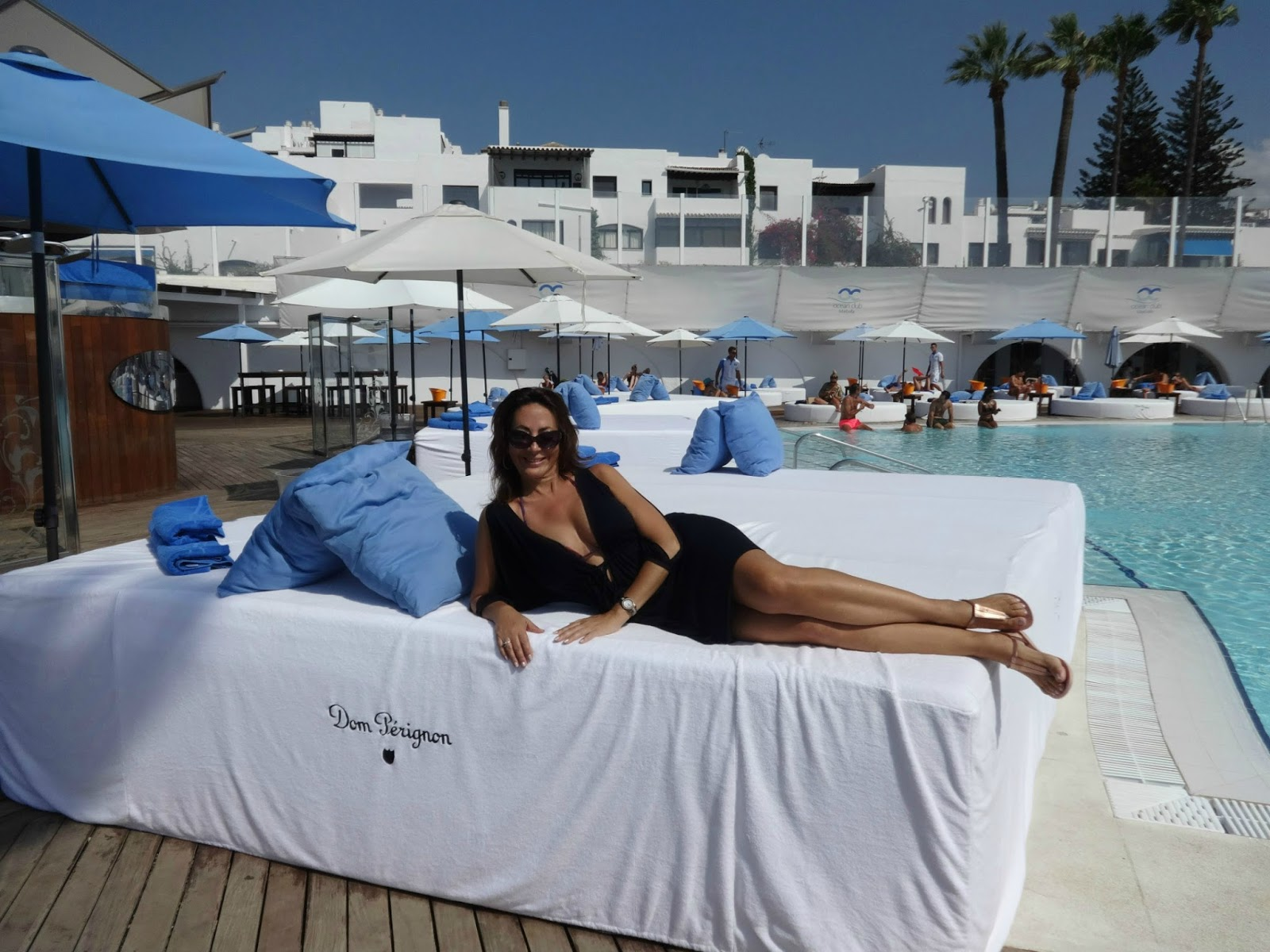 Christine Michaels Dom Perignon VIP pool bed Marbella Club