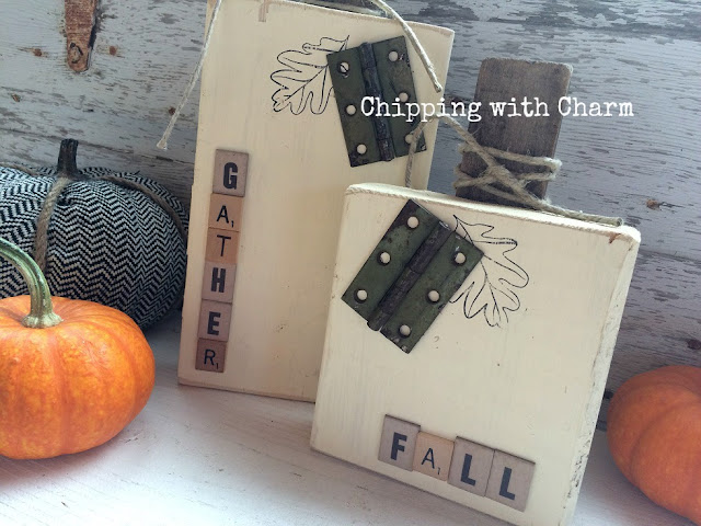 Chipping with Charm: Embellished Wood Block, Repurposed Pumpkins www.chippingwithcharm.blogspot.com