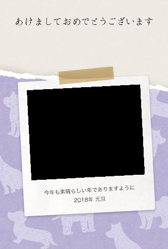 ポラロイドの写真フレームのガーリー年賀状(戌年・写真フレーム)