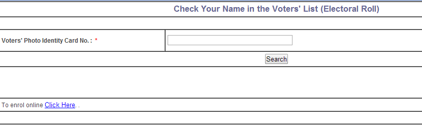 Search using Your Voter ID Card Number