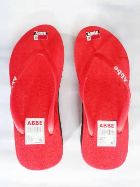 sandal jepit abbe wanita tinggi merah