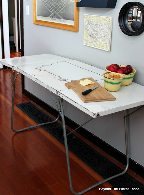 Vintage Metal Folding Table Perfect For Camping