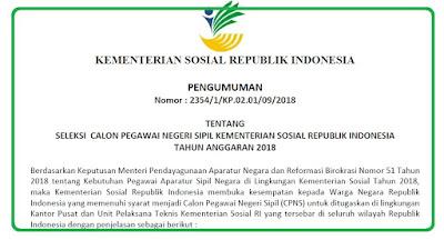 Pengumuman Penerimaan CPNS Kementerian Sosial (Kemsos) Tahun 2018