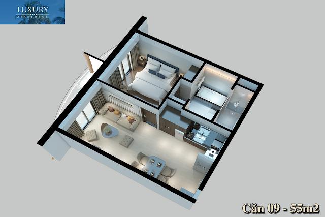 Hình ảnh 3D căn 09 dự án Luxury Apartment Alphanam