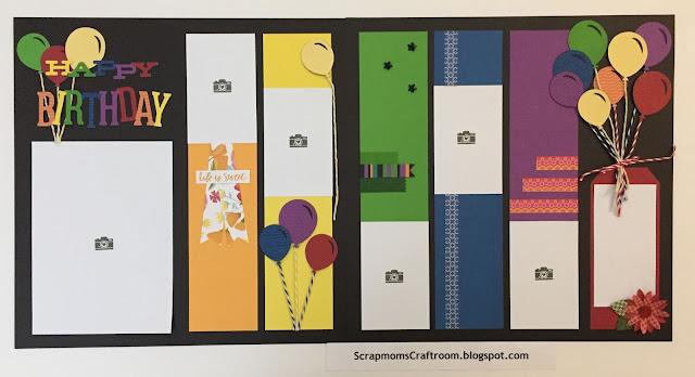 Happy Birthday rainbow layout - #crafttherainbow - CTMH  @ScrapmomsCraftroom.blogspot.com