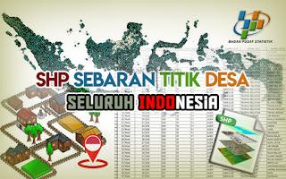 SHP Shapefile Sebaran Titik Desa Seluruh Indonesia Sumber Wilkerstat BPS