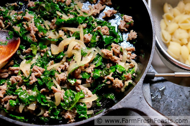 A skillet meal of Italian sausage, fresh kale, and caramelized onions tossed with pasta shells and bound together with creamy burrata cheese.