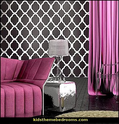 I Dream of Jeannie theme bedrooms - Moroccan style decorating - Jeannie bedroom harem style - Arabian Nights theme bedrooms - bed canopy - Moroccan stencils - I dream of Jeannie bottle - satin bedding - throw pillows - Moroccan furniture