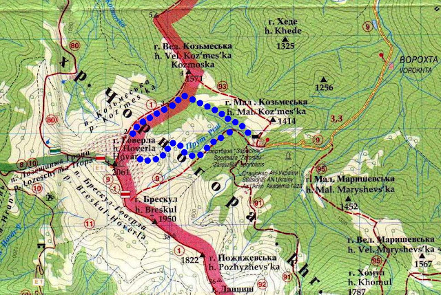 Карта маршрута Ворохта-Заросляк-Говерла