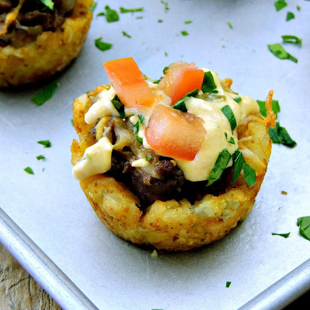 Tater Tot Cheeseburger Cups on a metal baking sheet