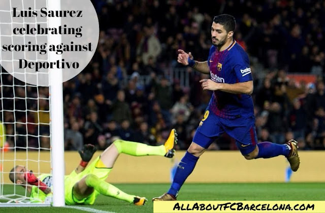 Luiz Saurez Celebrating Scoring against Deportivo - FC Barcelona vs Deportivo Highlight Video