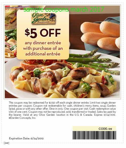 Olive garden coupon march 2018