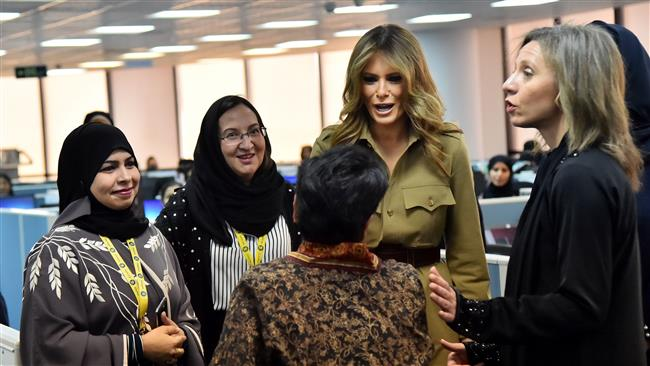 Melania Trump hails 'empowerment of women' at Saudi factory