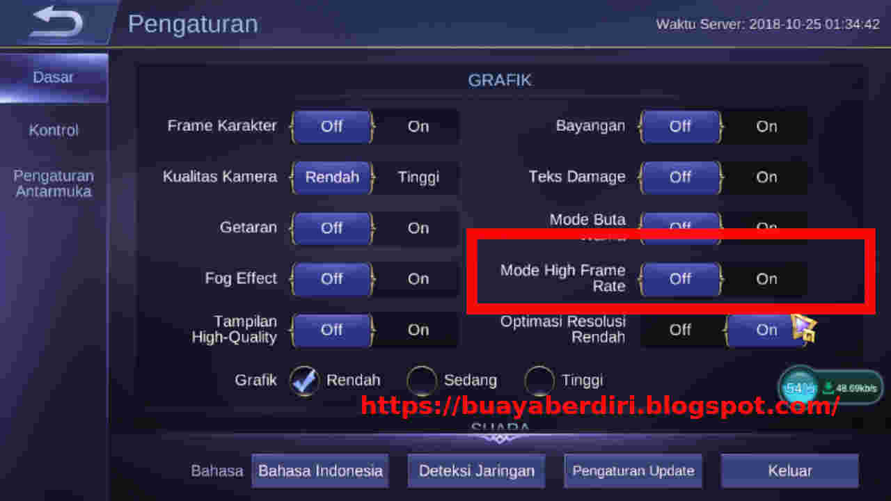 How to enable high frame rate mode on Mobile Legend