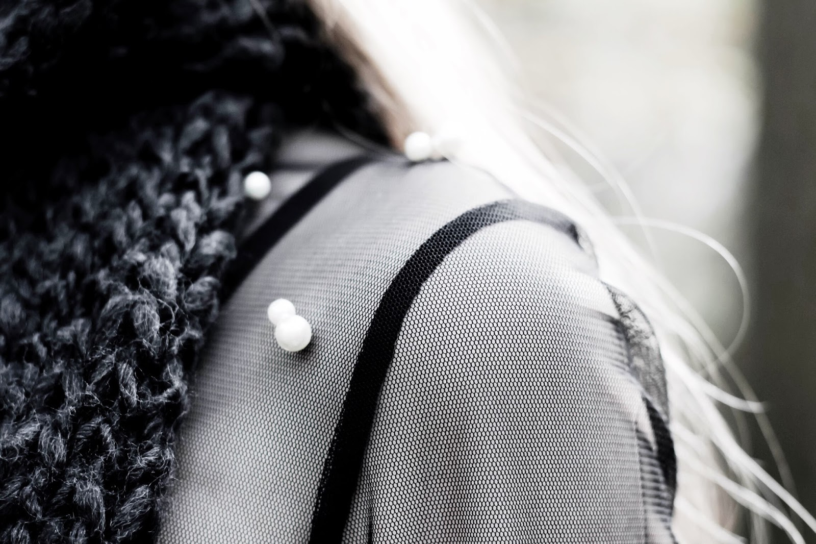 White Pearl Embellishment on Black Netted Dress