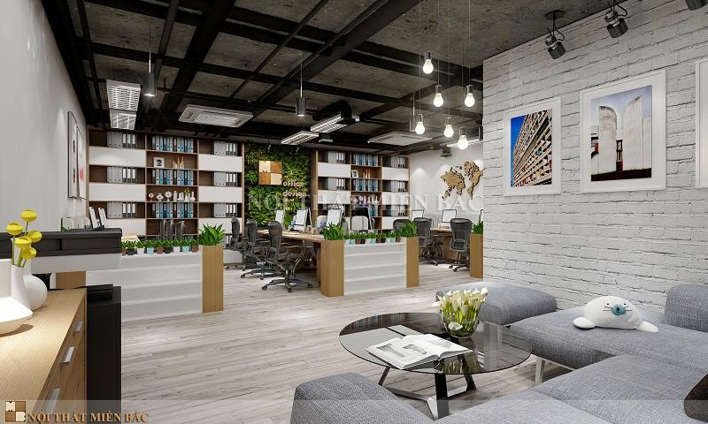 Thiết kế nội thất phòng làm việc không gian xanh