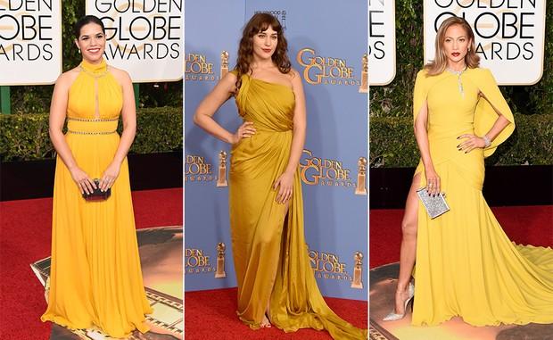 America Ferrera, Lola Kirke e Jennifer Lopez usaram tons de mostarda no Globo de Ouro 2016 (Foto: AFP)