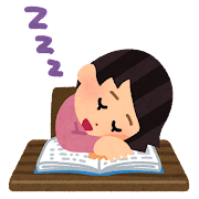 勉強中に寝落ちした人のイラスト(女性)