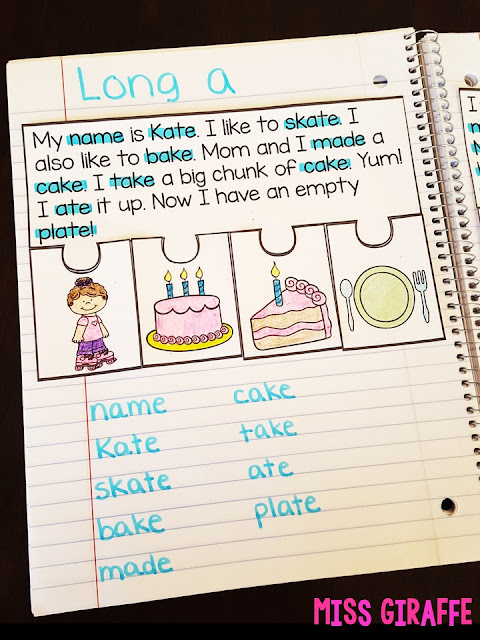Long a reading comprehension passage that is a fun puzzle activity to do for phonics notebooks - check out all these fun long vowels activities!