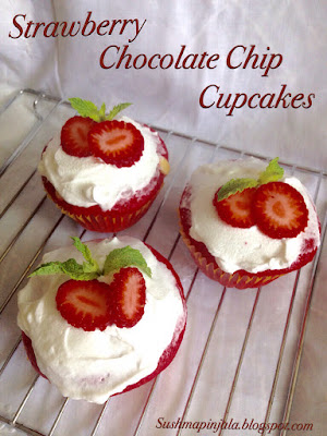 Strawberry and Chocolate chip Cupcakes