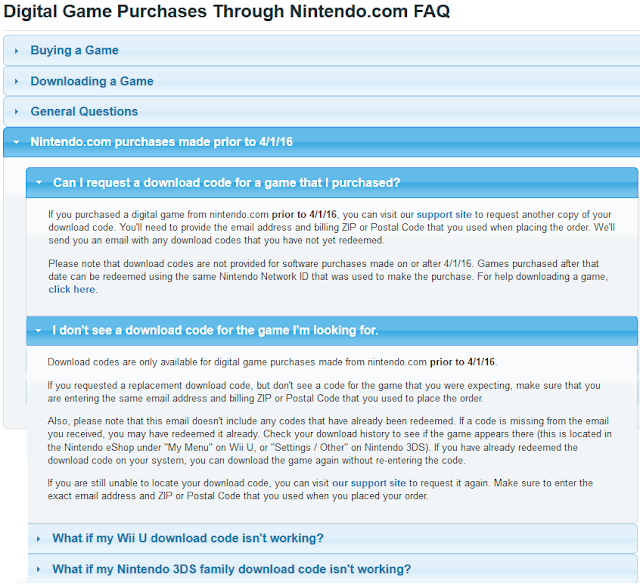 Nintendo.com digital game purchases no more download codes gifting
