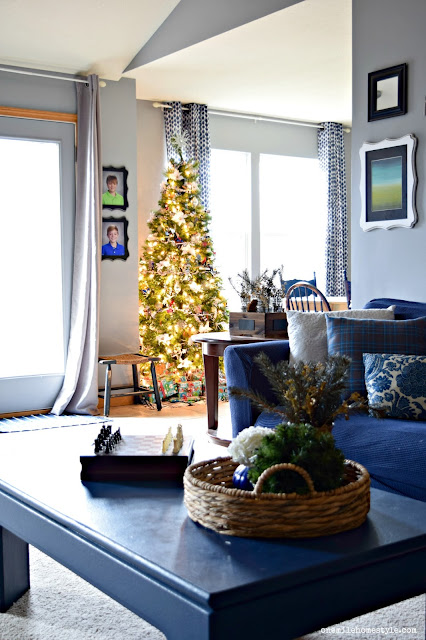 Navy and Grey Living Room with simple Christmas decorations
