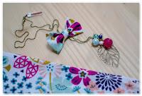 sautoir noeud feuille bronze vieilli perles couleurs