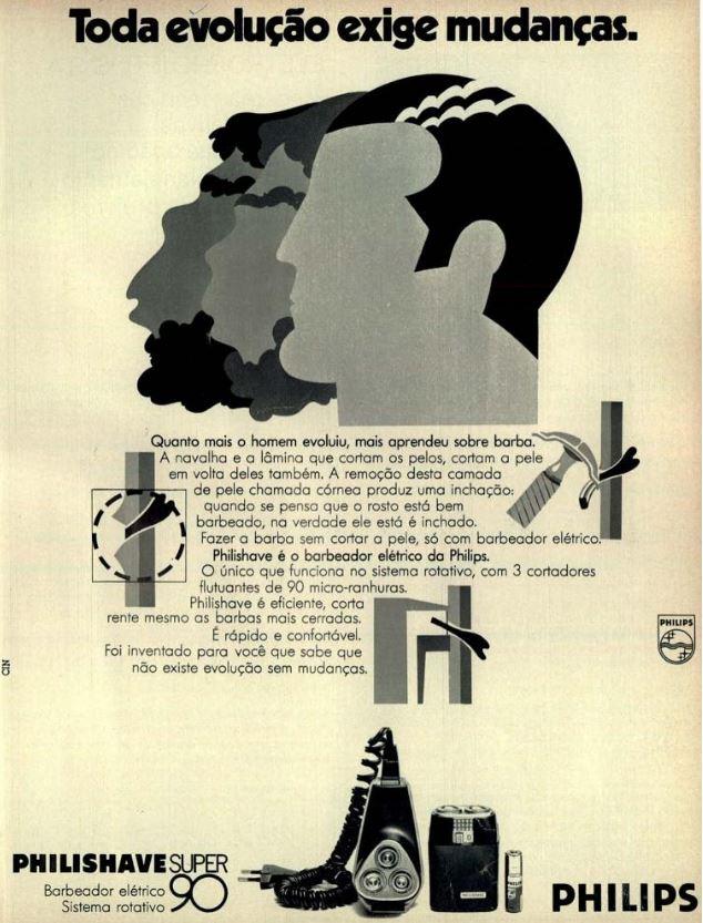 Propaganda da Philips em 1974 promovendo a sua linha de barbeadores elétricos