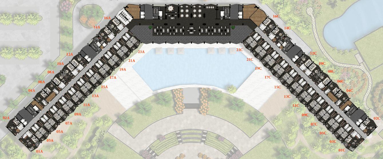 Mặt bằng tầng 8 Condotel 15 tầng FLC Sầm Sơn