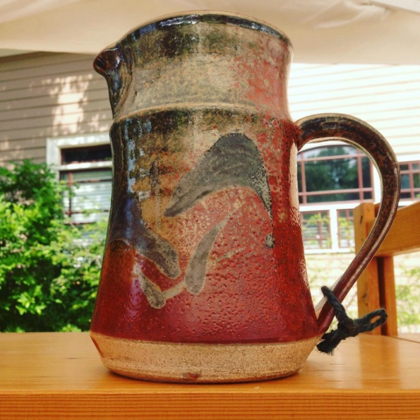 Ceramic pitcher with Shino glaze by Future Relics Gallery