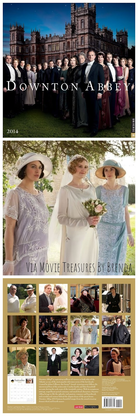 Downton Abbey 2014 Calendar from Movie Treasures By Brenda