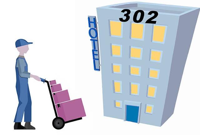 repartidor va a un hotel con el número 302