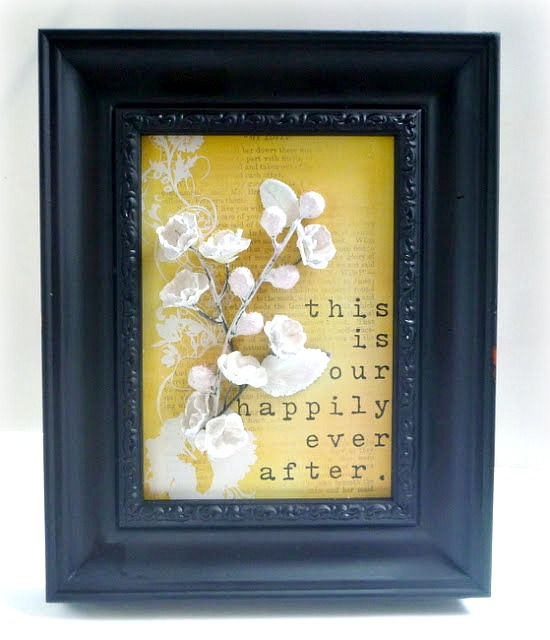 Painted Plaster Dipper Flower Framed Art by Dana Tatar