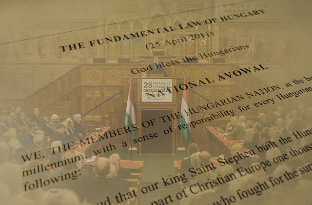 Hungarian parliament photo blended with the constitution
