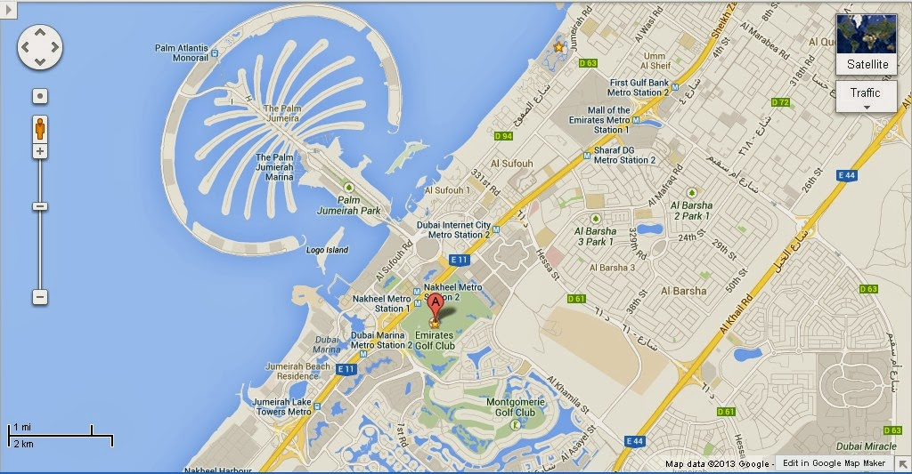 UAE Dubai Metro City Streets Hotels Airport Travel Map Info: Detail The Emirates Golf Club Dubai ...