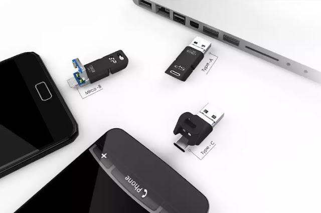 Mobile C50 Flash Drive Presents A USB-C, USB-A,  Plus Micro USB Connectors