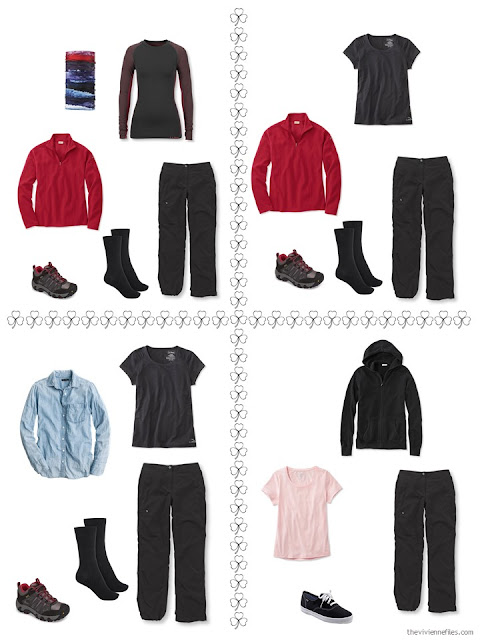 four ways to dress for hiking from a travel capsule wardrobe