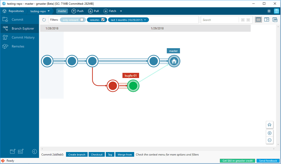 Branch Explorer illustrating branching and merging processes
