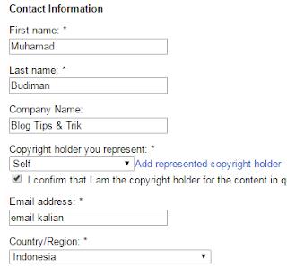 formulir informasi kontak melaporkan pencuri konten ke dmca